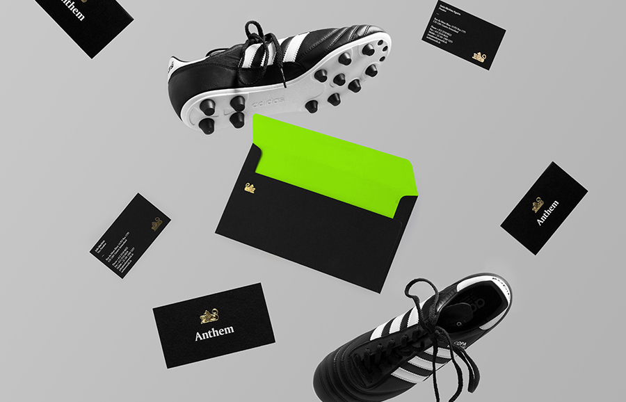 Stationery with embossed gold foil detail by Anagrama for football scout and transfer business Anthem