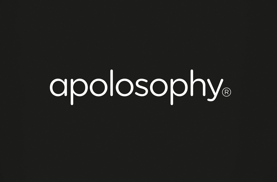 Sans-serif logotype designed by BVD for Swedish cosmetic brand Apolosophy