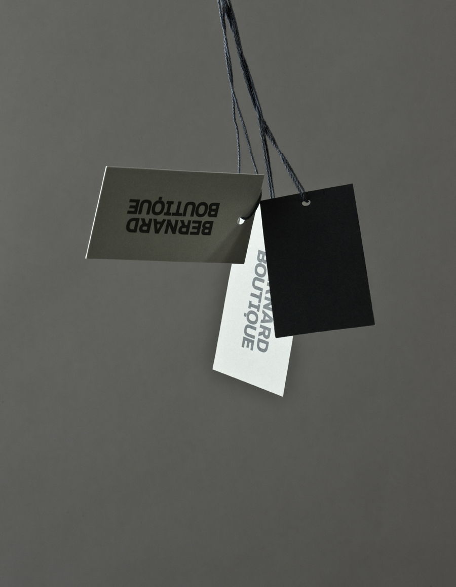 Logo and tags for award-winning fashion store Bernard Boutique designed by Bunch