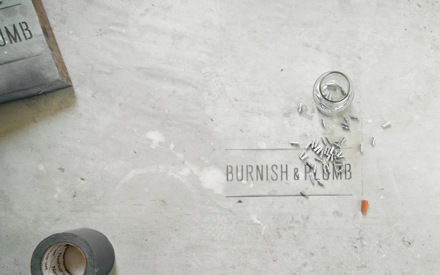 Logo as a stencil designed by FÖDA for Austin based construction firm Burnish & Plumb