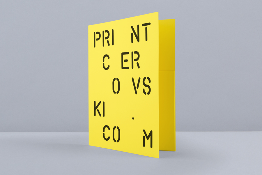 Yellow card folder for print production studio Cerovski designed by Bunch