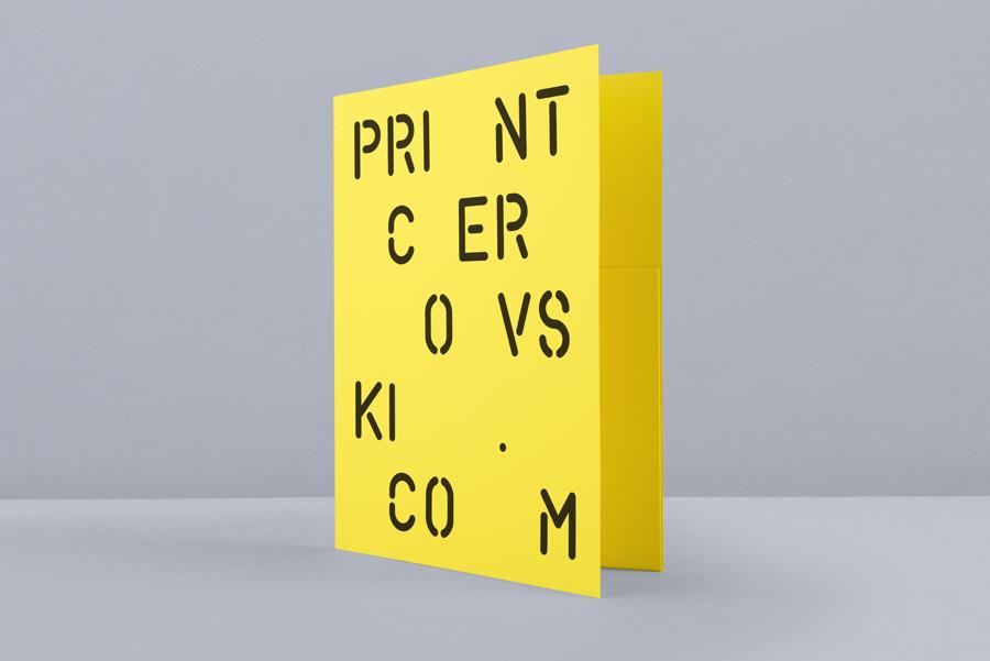 Yellow card folder for print production studio Cerovski designed by Bunch