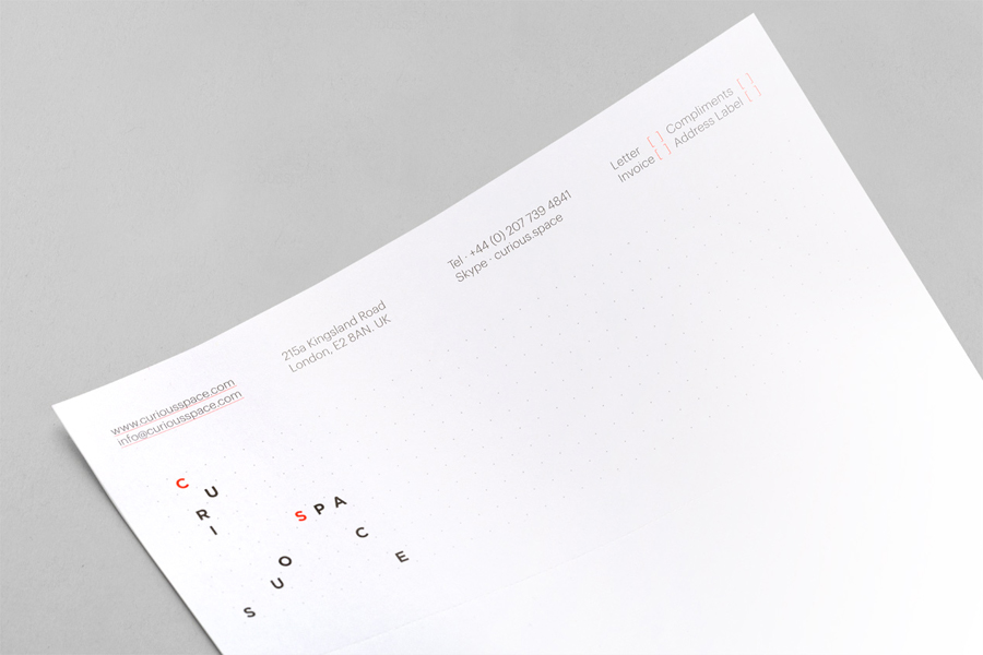 Letterhead designed by Mash Creative and May Ninth for specialist scene setter Curious Space