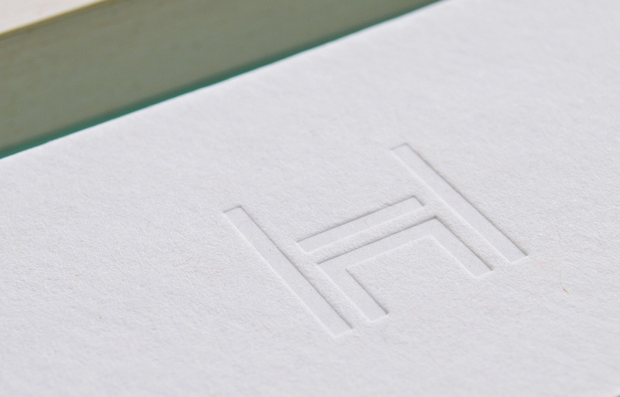 Logo as a blind deboss stationery detail by Two Times Elliott for Daniel Hopwood