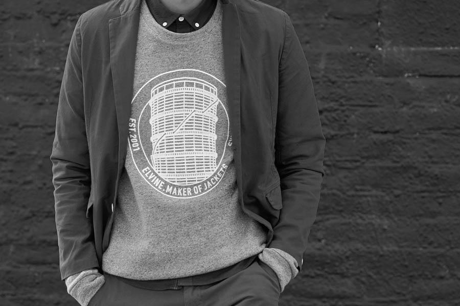 Sweatshirt with emblem designed by Lundgren+Lindqvist for Swedish clothing brand Elvine