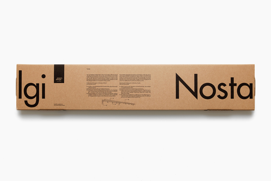 Packaging with black ink across an unbleached board designed by Bedow for hat and shoe rack Nostalgi from manufacturer Essem