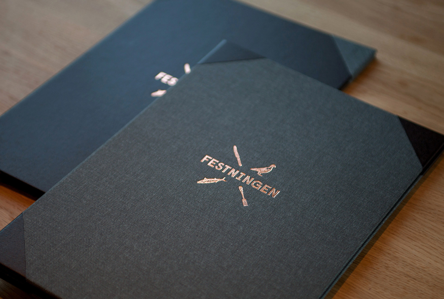 Logo and menu with copper foil detail designed by Uniform for Oslo brasserie Festningen