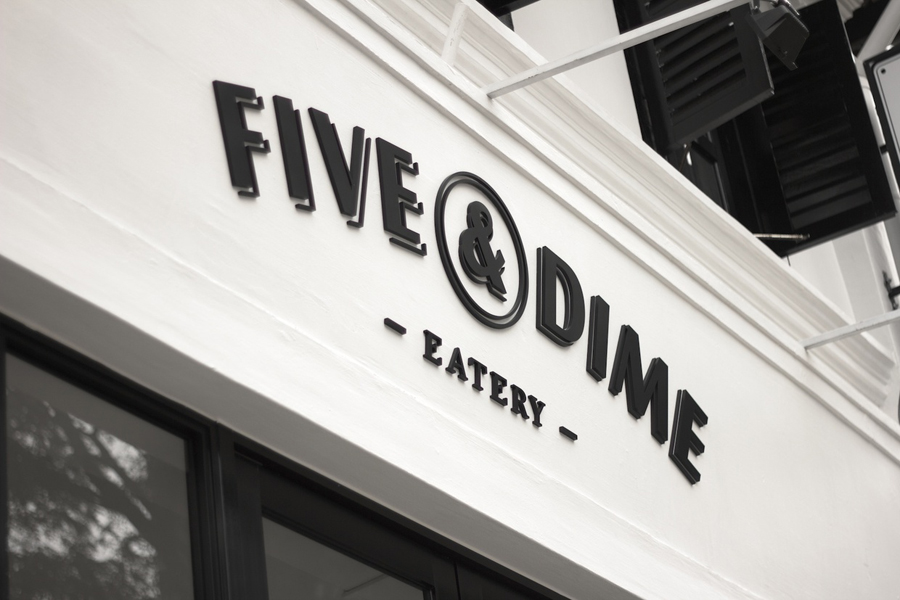 Logo design and exterior signage by Bravo Company for Singapore cafe and restaurant Five & Dime