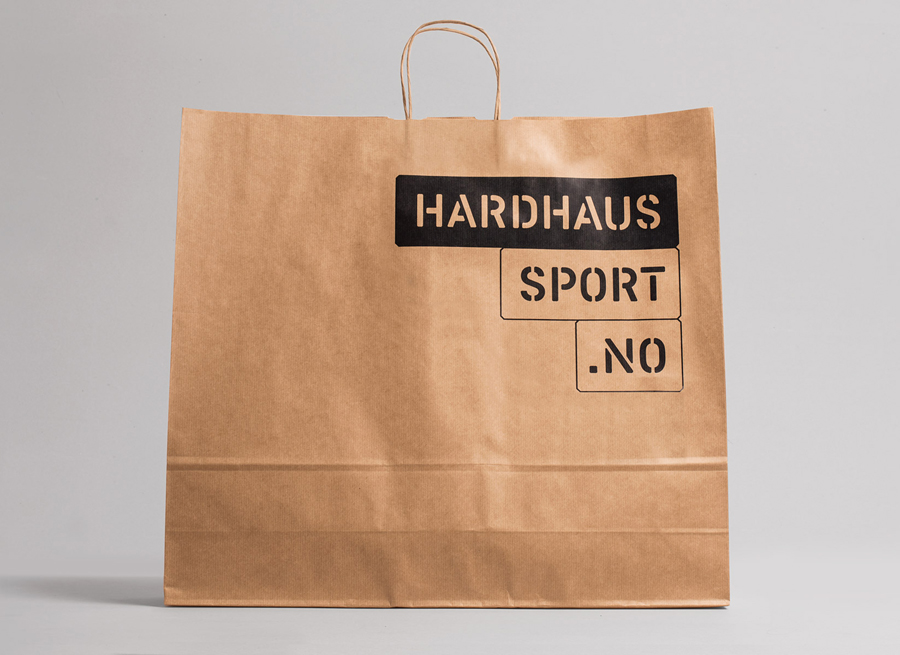 Logotype and unbleached paper bag designed by Heydays for mountain sports retailer Hardhaus