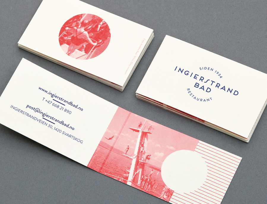 Logo and print with vintage red tinted photography detail designed by Uniform for recently refurbished Norwegian restaurant Ingierstrand Bad