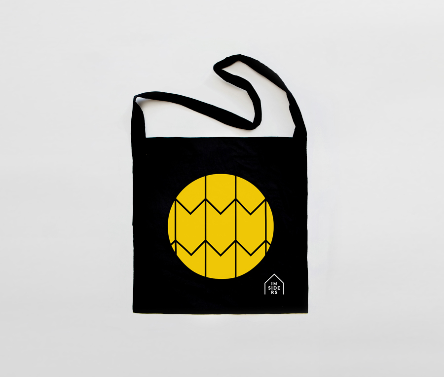 Logo, symbol and tote bag designed by Naughtyfish for Sydney Opera House's membership program Insiders