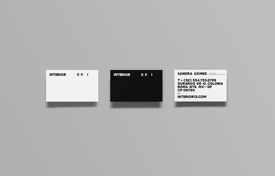 Logo and business card with white ink detail designed by Anagrama for Interior 13, a distributor of auteur films and promoter of independent cinema