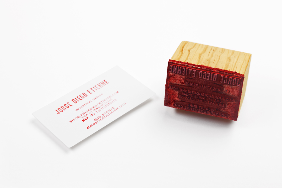 Logo, stamp and business card designed by Savvy for Monterrey based industrial designer and studio Jorge Diego Etienne