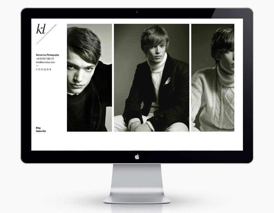 Website designed by Teacake for fashion, music and editorial photographer Karina Lax