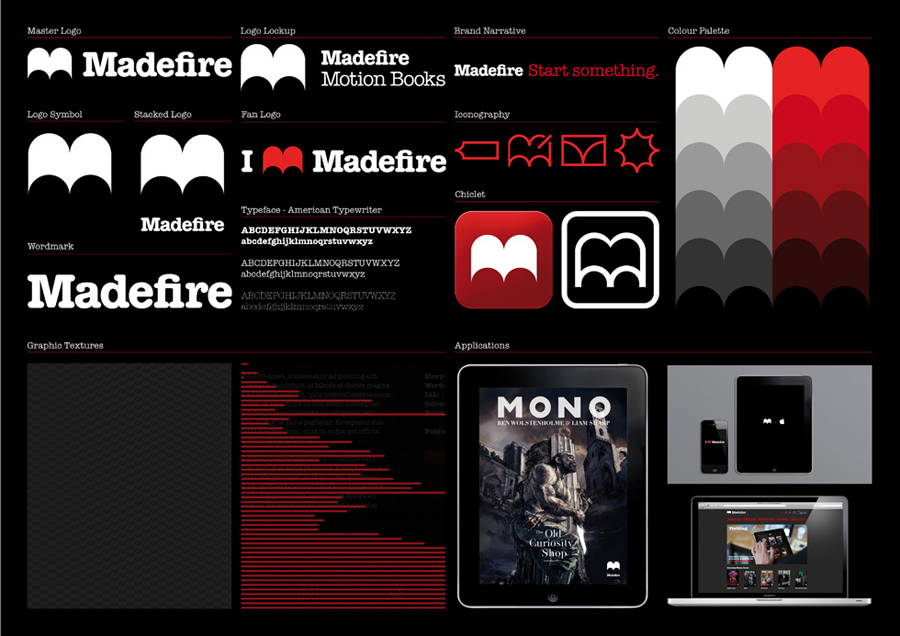 Logo and branding for Madefire designed by Moving Brands