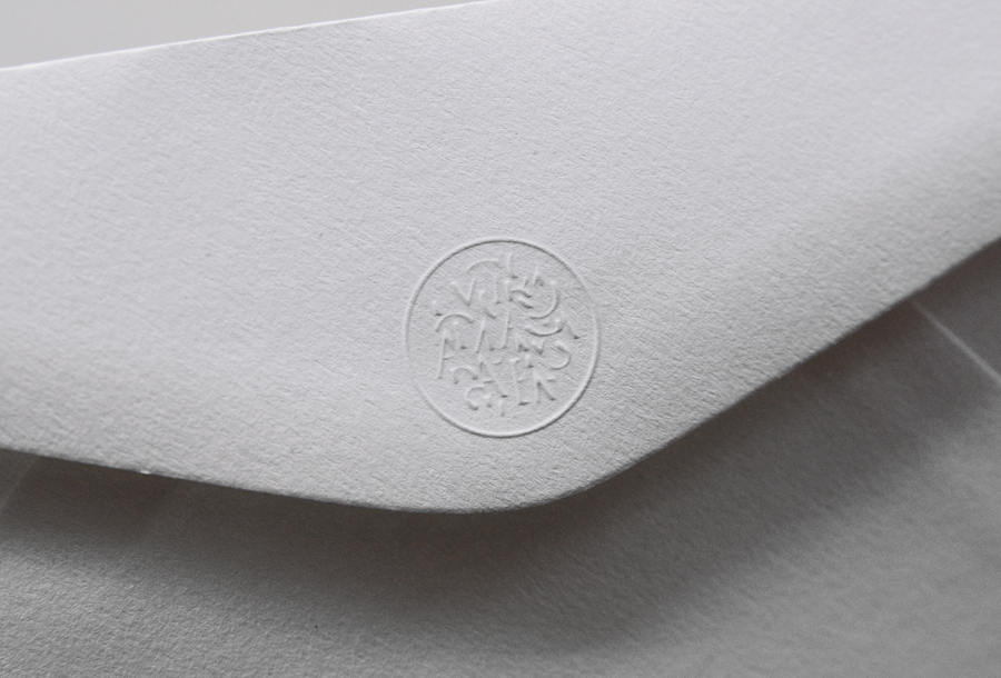 Logo and envelope with blind emboss detail for London-based information gathering consultancy Mars Omega designed by Igloo