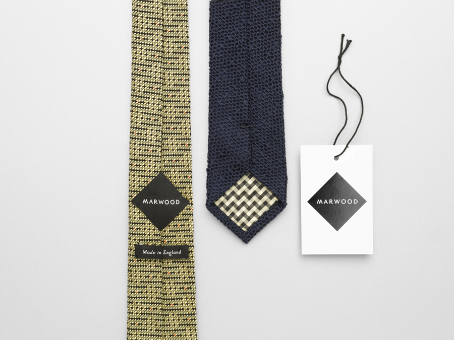 Logo, tag and stitched in label design by Everything In Between for London-based tie and neckwear brand Marwood