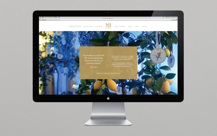 Logo and website for florist NB Flowers designed by Karoshi