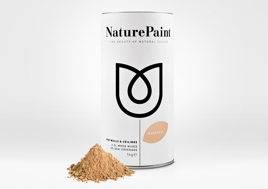 Packaging design by B&B Studio for earth-friendly powdered wall paint Naturepaint