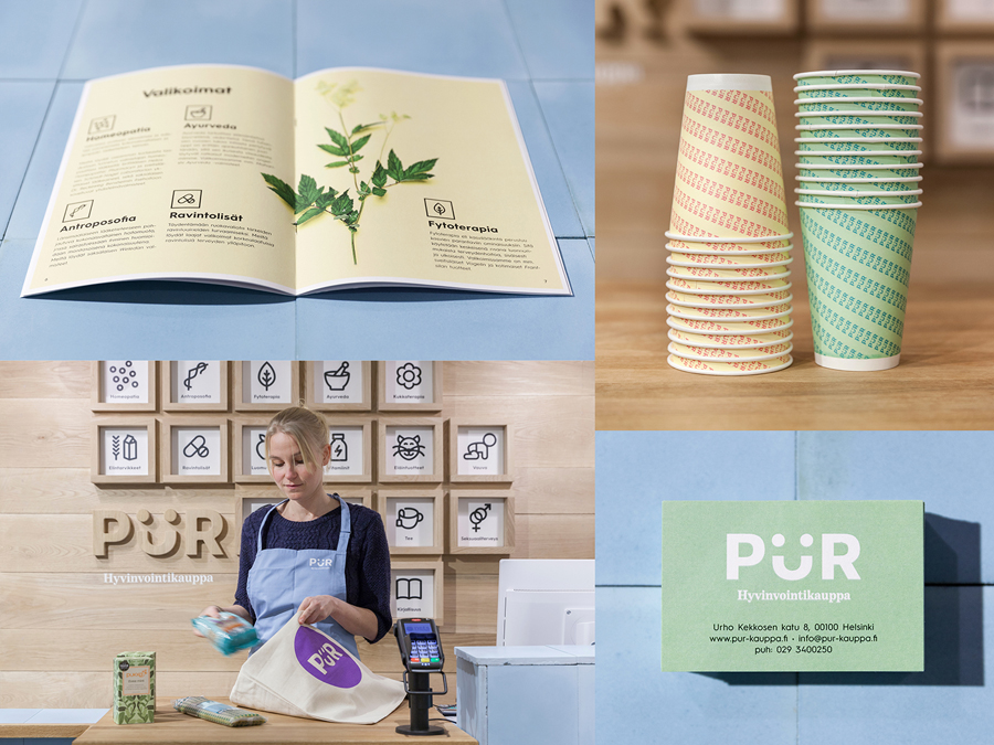 Logo, print, photography and interior by Bond for Helsinki-based health store PÜR