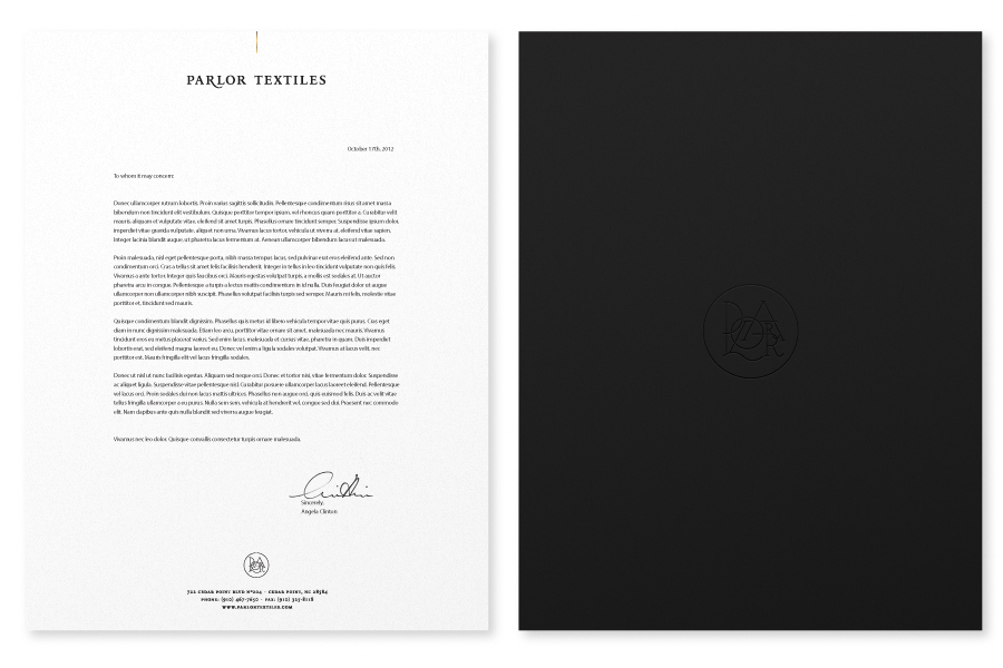 Letterhead design with gold foil detail created by Face for Parlor Textiles