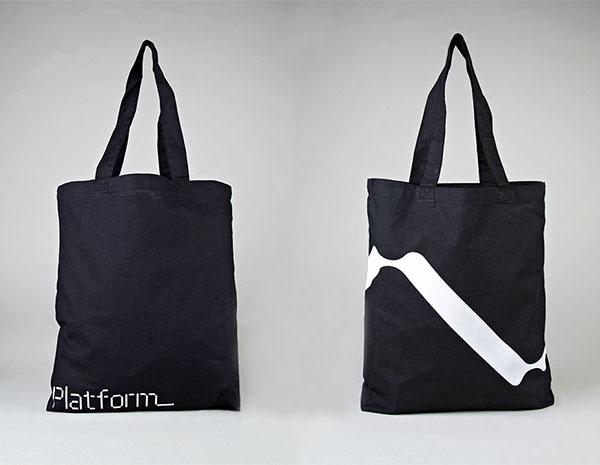 Logo and tote bag designed by Pentagram for not-for-profit, technology and entrepreneurship organisation Platform
