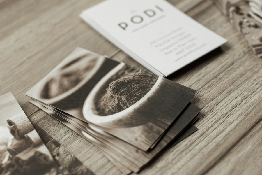 Logotype and business cards designed by Bravo Company for Singapore-based organic restaurant Podi