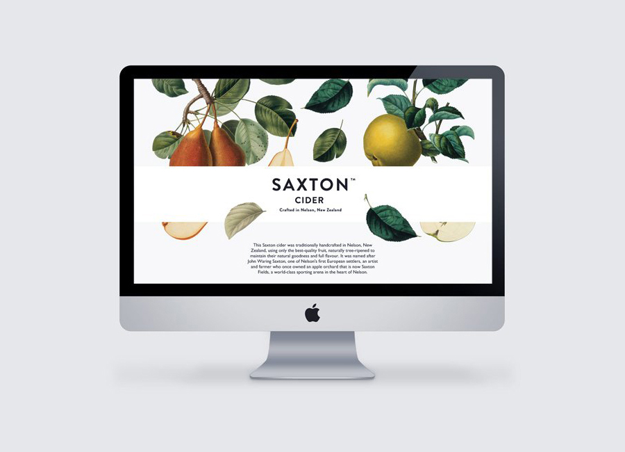 Website with traditional, botanical illustrative detail designed by Supply for Saxton Cider