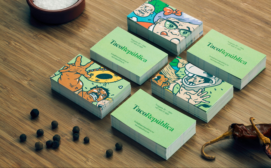 Business cards feat. illustration by Uglylogo for Taco República designed by Bielke+Yang