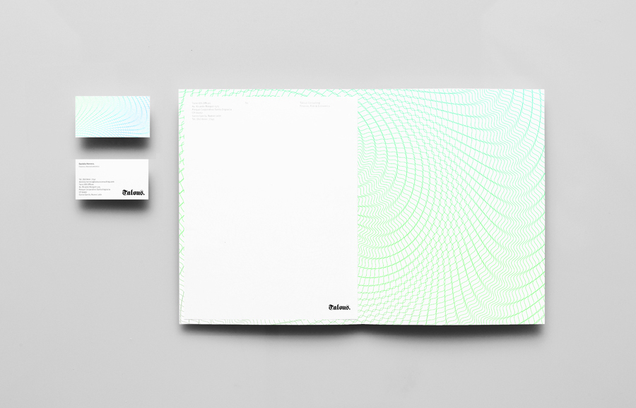 Folder with guilloché pattern detail for boutique financial consulting firm Talous designed by Anagrama