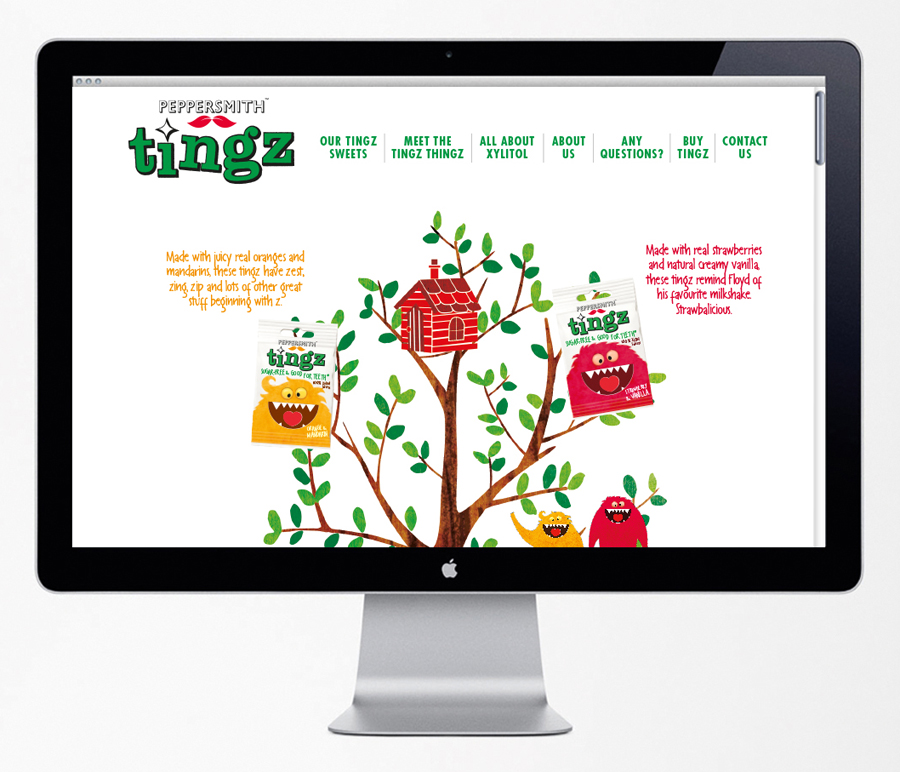 Website and brand identity designed by B&B Studio for Peppersmith's sugar-free sweet range Tingz