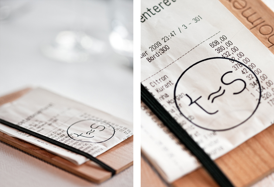 Receipt and wooden receipt holder created by Work In Progress for Norwegian seafood restaurant Tjuvholmen Sjømagasin
