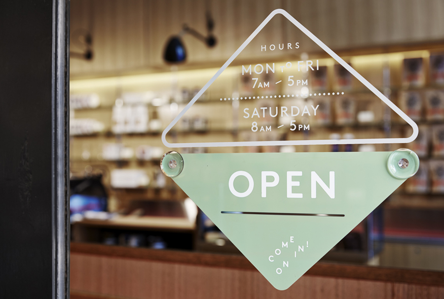 Window sign designed by The Company You Keep for Melbourne espresso bar Traveller