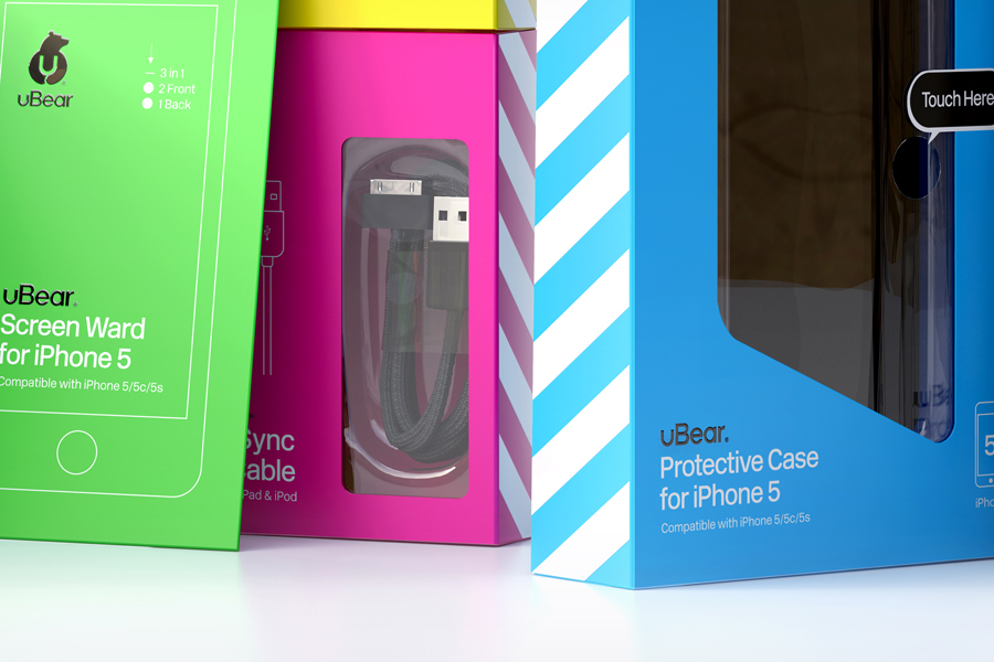 Packaging designed by Hype Type Studio and Mash Creative for electronics accessories brand U-Bear