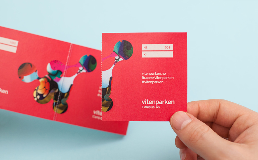 Ticket created by Bielke+Yang with illustration by MVM for science centre Vitenparken