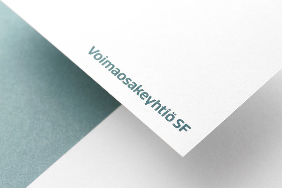 Logotype and metallic ink print detail by Werklig for Voimaosakeyhtiö SF