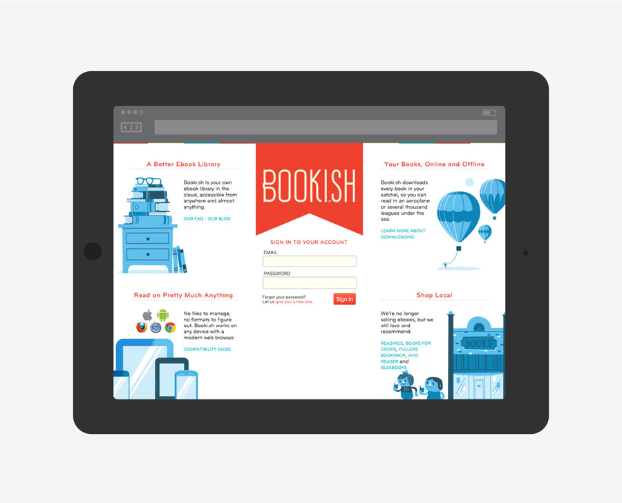 Responsive website and visual identity designed by A Friend Of Mine for Booki.sh