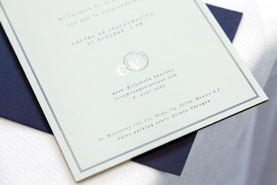 Menu with navy blue and green pastel paper and gold foil detail designed by Savvy for restaurant Casa Virginia