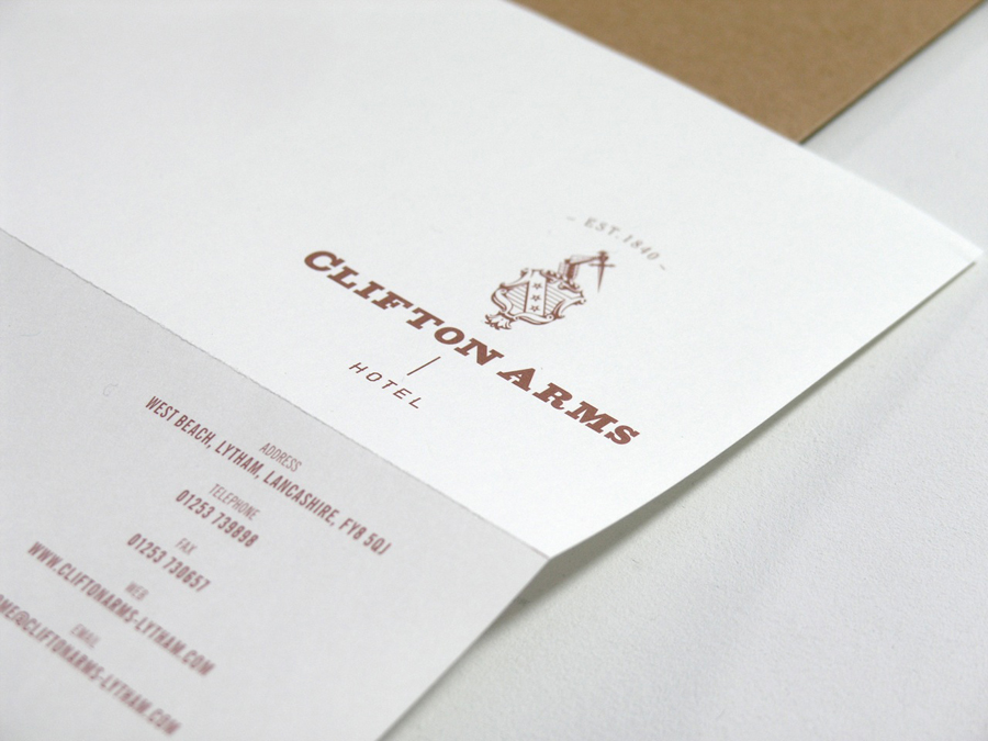Logo and headed paper with copper ink print treatment designed by Wash for the Clifton Arms Hotel