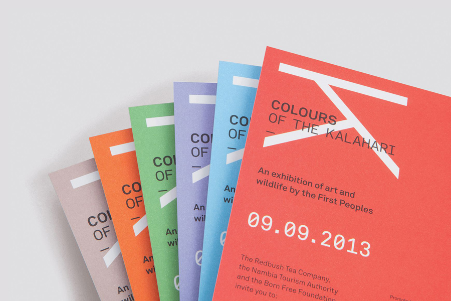 Print for contemporary San art exhibition Colours Of The Kalahari designed by Believe In