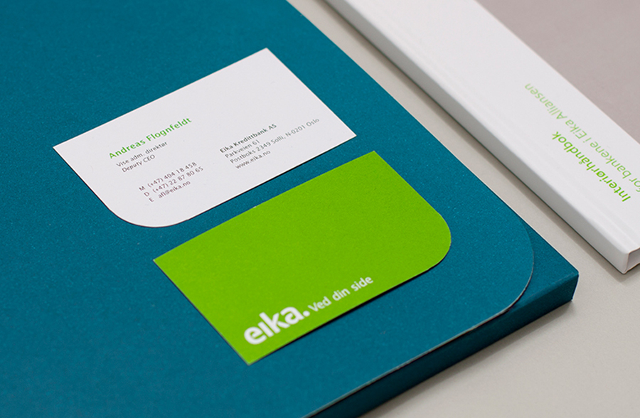 Logotype and Business cards designed by Mission for local bank alliance Eika