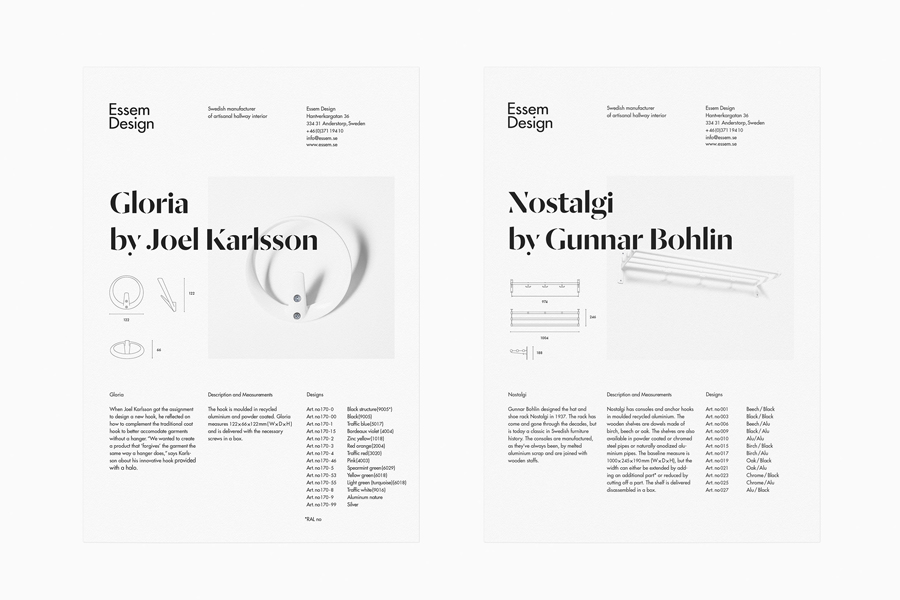 Logotype and product sheet designed by Bedow for Essem Design, a Swedish manufacturer of artisanal hallway interiors.