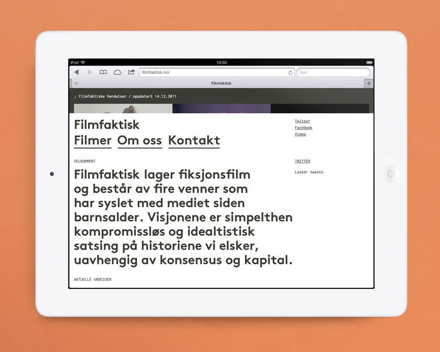 Logo and mobile website for Norwegian, location-focused filmmakers Filmfaktisk designed by Heydays