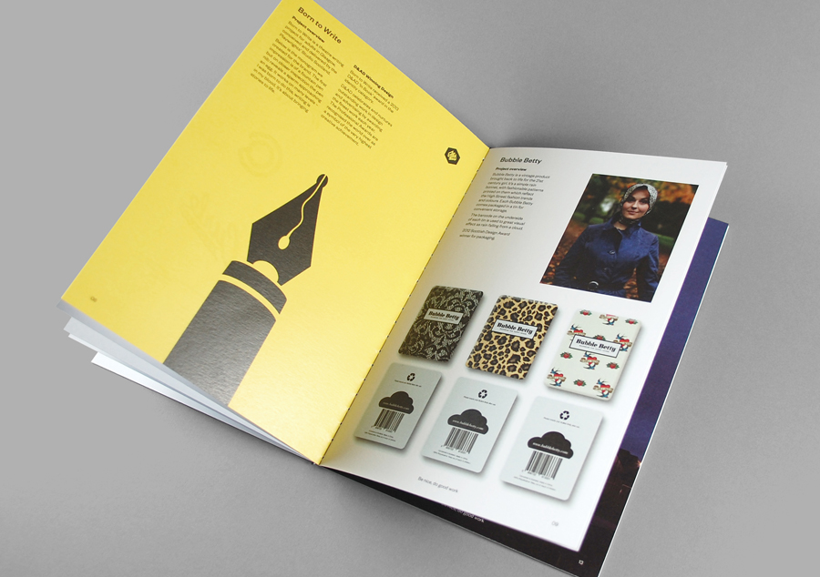 Open stitched promotional booklet designed for KVGD by Kerr Vernon
