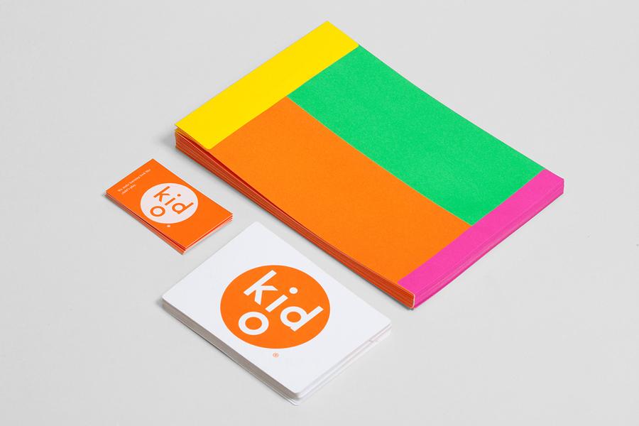 Logo and stationery for modern toy business Kid O designed by Studio Lin