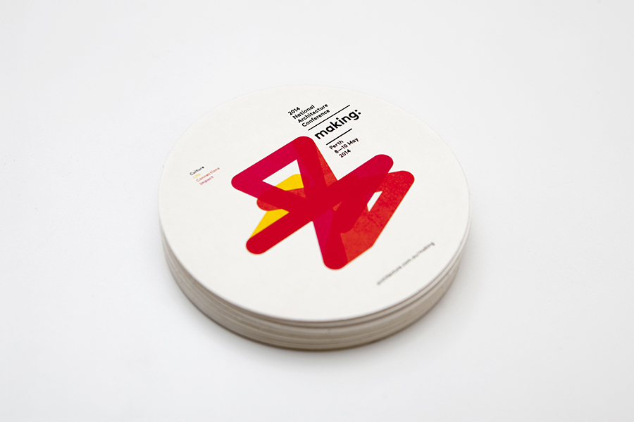 Coaster designed by Garbett for the Australian Institute of Architects' 2014 conference Making