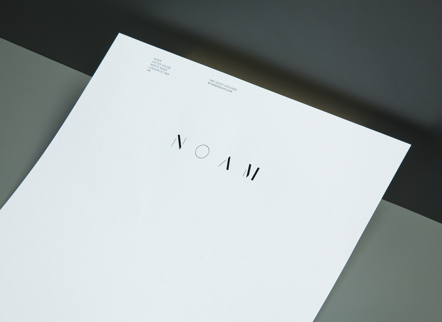 Logo and letterhead created by Graphical House for interior design consultancy Noam