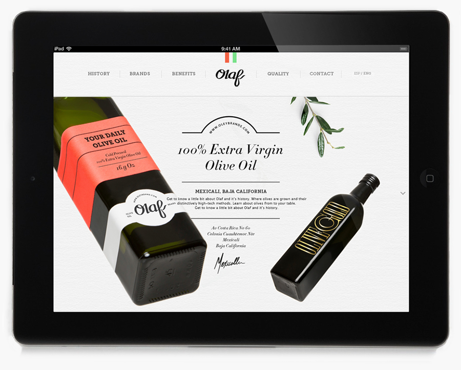 Website for olive oil brand Olaf designed by Anagrama