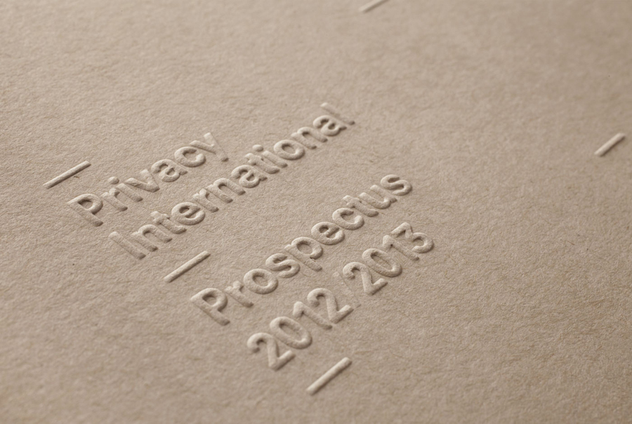 Envelope with blind emboss detail for Privacy International designed by This Is Real Art