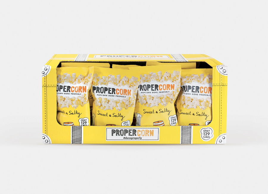 Propercorn packaging 2014 designed by B&B Studio featuring illustrative work by Zoe More O'Ferrall